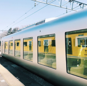 Laview train with reflection in windows
