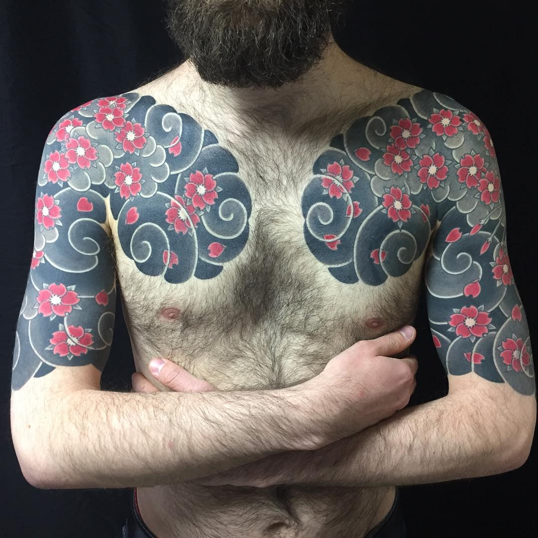 Japanese tattoo chest and arms cherry blossom